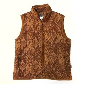 Patagonia Brown Floral Insulated Puffer Vest Sz S